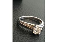White gold with diamond cluster 0.42 engagement or dress ring size L/M
