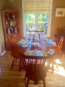 Show stopping elegant red maple dining set!