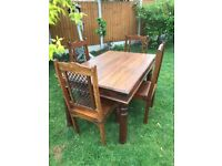 Sheesham dining table and 4 chairs