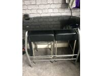 Black glass oval table & chairs