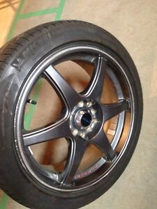 Four 17x7 wheels with 215/45R17 Michelin tires Strathcona County Edmonton Area image 4