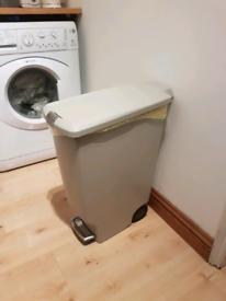 Quality Simple Human lockable pedal bin. Stone colour