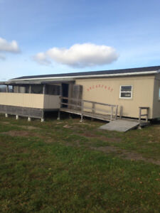 40' trailer with industrial kitchen and serving tables
