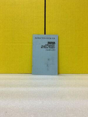 Bird Multi-purpose Thruline Wattmeter Rf Power Analyst 4391 Instruction Book