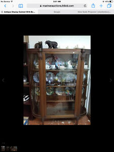 Antique Display Case with Bow Glass sides