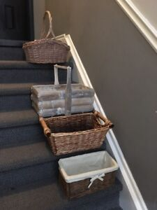 Large wicker and bamboo baskets