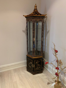 Beautiful Curio cabinet with Asian decal