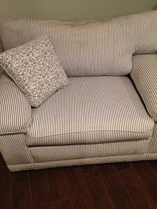 Blue and white striped Sofa and matching armchair - NEW PRICE! West Island Greater Montréal image 2