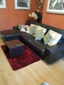 DFS sofa bed couch corner + ottoman for sale £600
