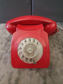 Vintage Retro Rotary Dial Red Telephone