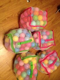 5 Full bags of multi coloured plastic balls