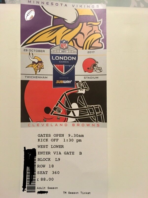 NFL Minnesota Viking vs Cleveland Browns Twickenham Premium seat ** Half Price Ticket ***