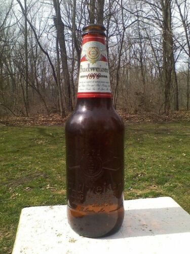 Budweiser Beer Bottle Bud 1876 Rare Limited Edition Anheuser Embossed Glass