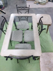 Dining table (stone and metal)