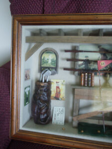 Vintage  3-D Golf Themed Classic Wooden Shadow Box Wall Hanging