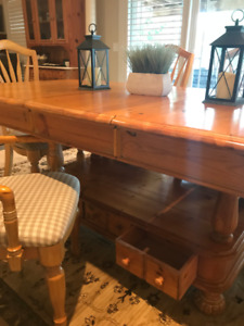 Solid Wood Table With Matching Marble Cabinet and Chairs