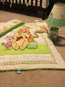 Winnie the Pooh crib bedding and lamp Sarnia Sarnia Area image 1