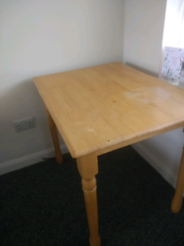 Small pine wooden table