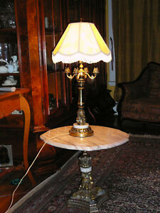 "Superbe lampe antique Italienne 30"" styleRococo bronze, or, soie"