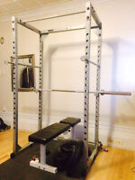 Powerline Squat Rack, York 205 Bench, 280lb weights, olympic bar
