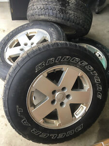 "Set Of 4 Jeep Wrangler OEM 18"" Rims and Tires"