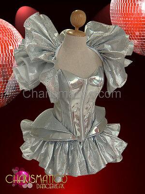 CHARISMATICO Three piece Silver set featuring Ruffled Skirt, shrug & Gaga Corset