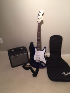 Fender Guitar, Case and Amp