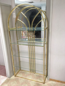 2 glass and metal shelving units for sale