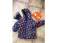 Fox coat, hat and glove set 2-3yrs