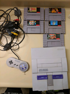 Snes with 5 games and all hookups