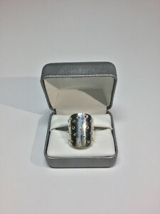Sterling Silver Ring - Long Cigar Band with Swarovski Crystals