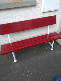 """Old Cast Iron Garden Bench Seat """"Royal Maroon"""""""