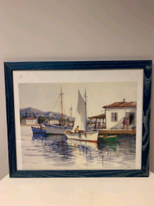 Sail boats on water print painting