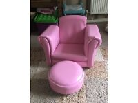 Kids Pink chair and footstool