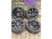 "18""Wheels with tyres: 4 X PRO DRIVE BLACK GT1 ALLOY WHEELS - 5X114.3  18X8.5""   ET53"