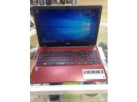 "Acer E5-571 Red 15.6"" Laptop 4GB RAM 1TB HDD windows 10"