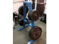 Cast Iron Olympic Weight Plate Set 7ft Olympic Bar & Storage Tree Over 200kg