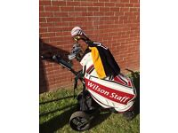 Wilson staff golf setup with electric trolley