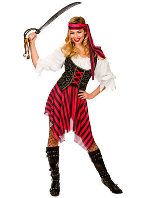 Ladies Pirate Fancy Dress Costume High Seas Caribbean Wench Outfit Size 6-28 Pirate Wench Outfit