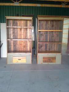 Two Oak barn board multi use cabinets