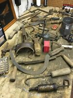 Assortment of antique tools nick nacks and a copper picture