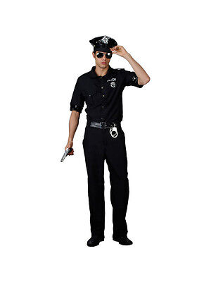 Mens Cop Uniform Policeman US Police Man Terminator Fancy Dress Costume - Police Man Costume