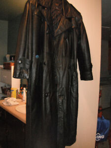 Unisex Vera Pelle Long Leather Lined Coat