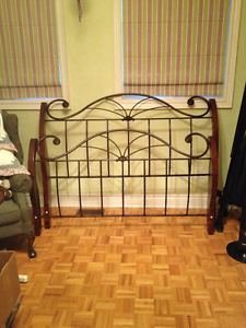 QUEEN BED - SOLID CHERRY & WROUGHT IRON SLEIGH BED