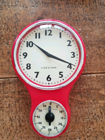 Procook retro kitchen clock and timer