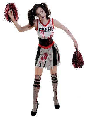 Zombie Cheerleader Fancy Dress Halloween Adult Monster Costume Pom Poms 8-18