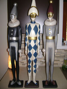 3 Wooden Theater Statues