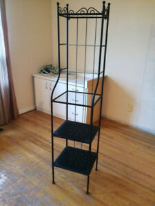 Black Shelf Unit with Glass Shelves