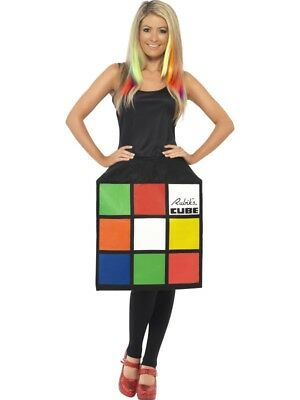 Würfelkleid 3D Zauberwürfel Kostüm Damen Würfel Kleid Rubiks Cube