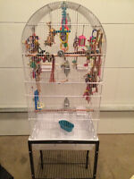 Birdcage and stand plus LOTS of toys